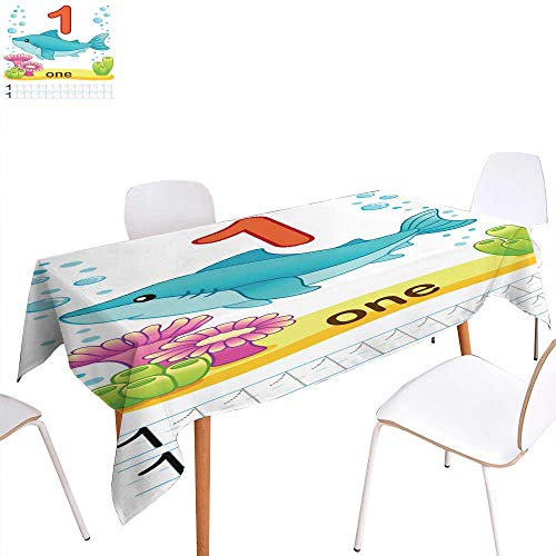 Jacquard Tablecloth Printable worksheet for kindergarten and preschool Training exercises for writing numbers Underwater background with marine life corals and algae A Rectangle/Oblong W 50