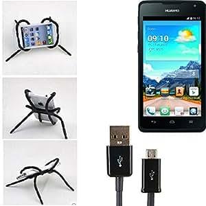 """soporte para coche y para mesa etc. para Huawei Ascend Y530, negro """"araña"""" cable USB. montaje de la salida aire, espejo retrovisor, bicicletas, etc. Trípode - K-S-Trade (TM)"""