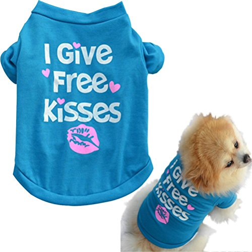 - Pet T Shirt,Puppy Summer Letter Shirt Small Dog Cat Pet Clothes with I Give Free Kisses (XS, Blue)