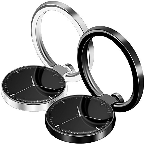 2 Pack Watch Shaped Cellphone Ring Holder, FineGood Expanding Magnetic Car Mount 360° Universal Stand Grip for iPhone, iPad, Samsung Galaxy - Black and Silver
