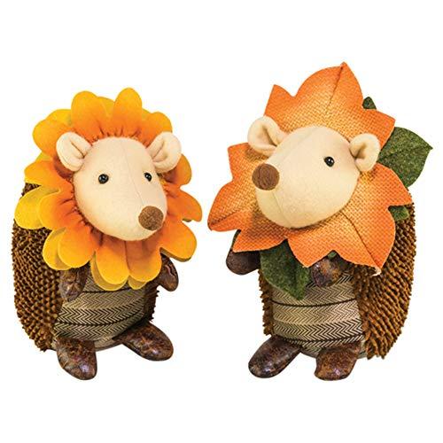 Hanna's Handiworks Sunflower Autumn Hedgehog 4 x 9 Inch Plush Polyester Harvest Figurines Assorted Set of ()