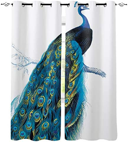 Peacock Curtains for Living-Room 84 inches Long Printed Window Drapes for Bedroom Room Darkening Curtains for Bathroom Kitchen Grommet Top – Peacock Stand on Branch Wildlife Animals