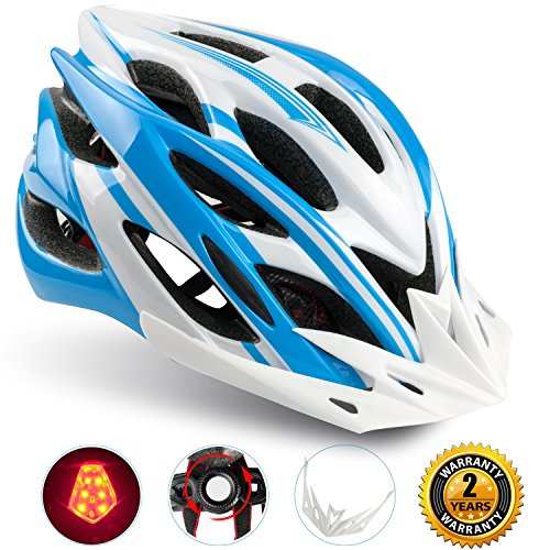 Racing Mens Bike (Basecamp Specialized Bike Helmet with Safety Light,Adjustable Sport Cycling Helmet Bicycle Helmets for Road & Mountain Biking,Motorcycle for Men & Women,Youth - Racing,Safety Protection (Blue White))