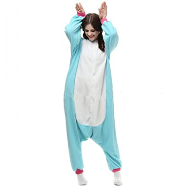 Misslight Unicorn Pajamas Animal Costume for Adult Sleeping Wear Pajamas Cosplay (S, Blue)