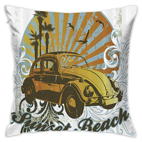 (Ancharpin Retro Volkswagen Beetle Pillow Case Cover 16.5X16.5 Inches Including Pillow Interior Double-Sided Printing Retro Couch Throw Pillow Square)