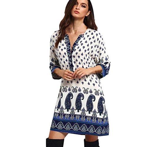LUNIWEI Women Vintage Long Sleeve V-Neck Party Beach Vestidos Mini Dress
