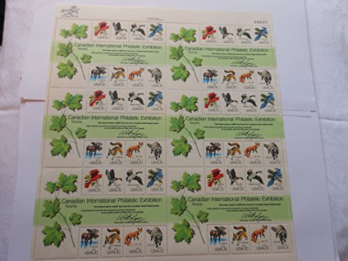 US Postage Stamps, 1978, S# 1757, Canadian International Philatelic Exhibition, Tribute to Wildlife, Full Souvenir Sheet of 48 13 Cent Stamps, MNH