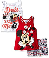 Disney Toddler Girls' 3 Piece Minnie Mouse Short Set, Red, 2t