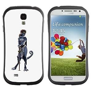 Suave TPU GEL Carcasa Funda Silicona Blando Estuche Caso de protección (para) Samsung Galaxy S4 I9500 / CECELL Phone case / / sword hero woman character cat grey /