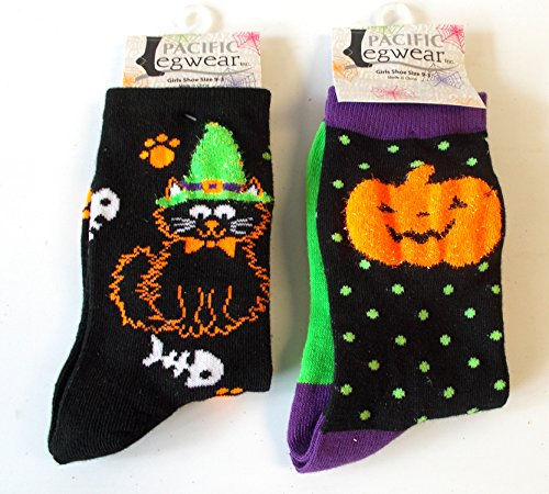 Halloween Socks Black Jack-o-lantern Cat Paws Girls 9-3 ()