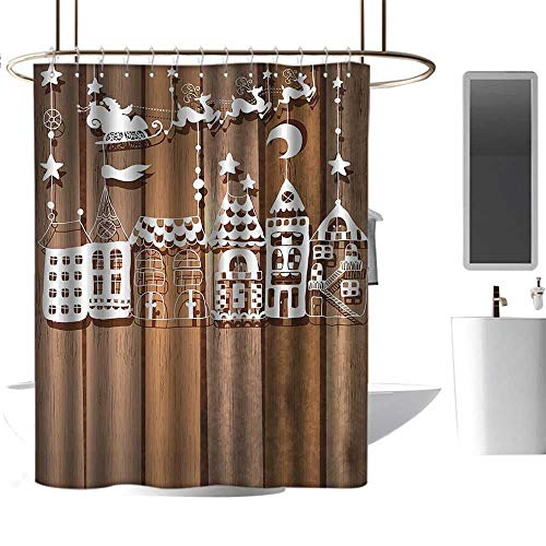 s Collection Wood Rustic Design Holiday Season Theme Santa in Sleigh House Paper Art Picture White Brown Polyester Shower Curtain W72 x L72 ()