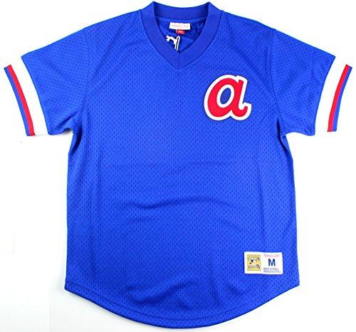 Atlanta Braves Mitchell & Ness Men's Mesh V-Neck Jersey Blue (Large)