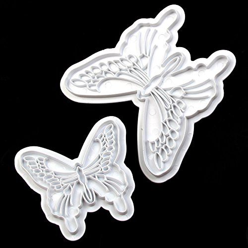 Delight eShop 2Pcs Butterfly Fondant Cake Decorating Plunger Sugarcraft Cookie Cutter DIY Mold (Clay Cutters Circle With Plungers compare prices)