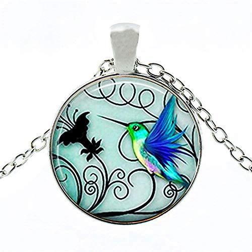 SIXQJZML Hummingbird Jewelry - Blue Hummingbird 25mm Necklace - Includes 18