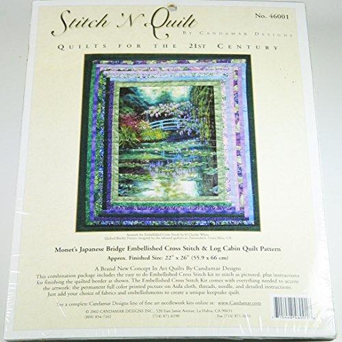 Stitch 'N Quilt Monet's Japanese Bridge Embellished Cross Stitch & Log Cabin Quilt Pattern NO 46001 2002