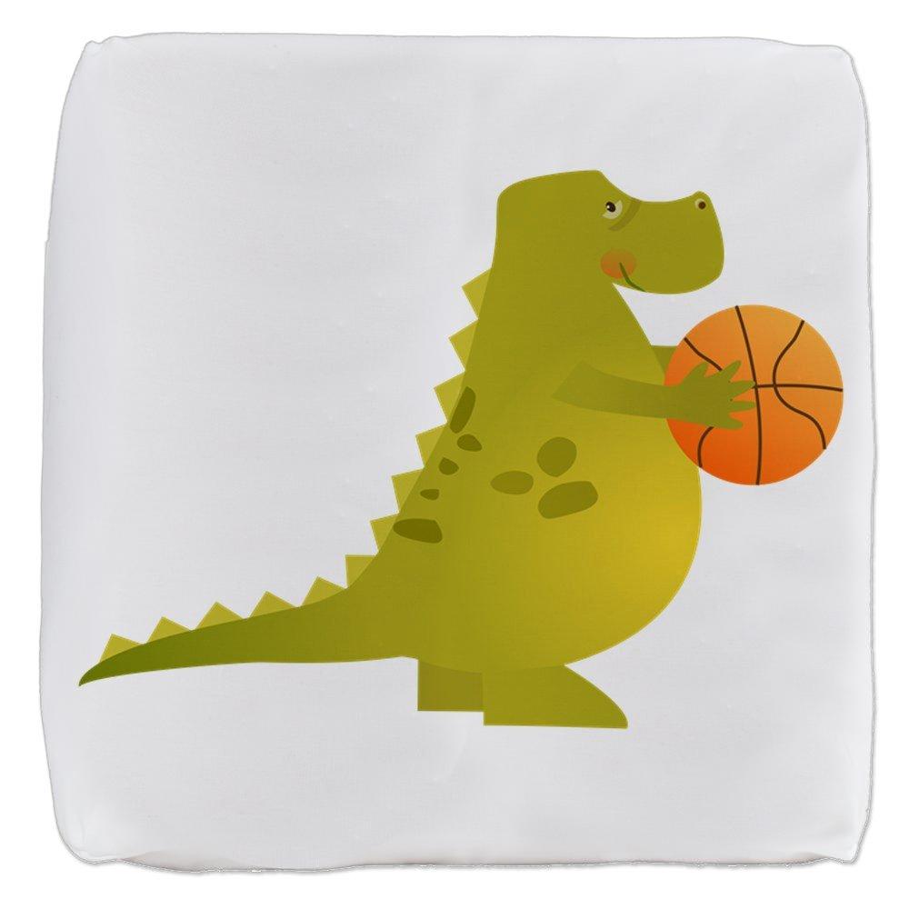 18 Inch 6-Sided Cube Ottoman Basketball Playing Dinosaur