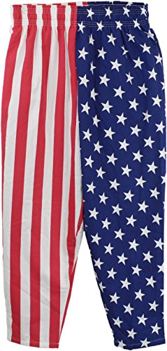 USA Flag Pants | American Patriot Roundhouse Kick of Freedom Heavy Woven (Costumes For College Guys)