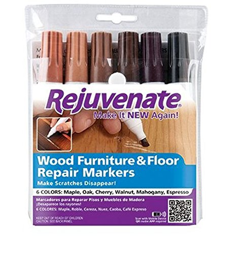 Rejuvenate Wood Furniture & Floor Repair Markers Make Scratches Disappear in Any Color Wood - 6 Colors; Maple, Oak, Cherry, Walnut, Mahogany, Espresso (10 pack) by Rejuvenate