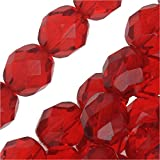 "Czech Fire Polish Glass Beads 8mm Round Red ""Ruby"" (25)"