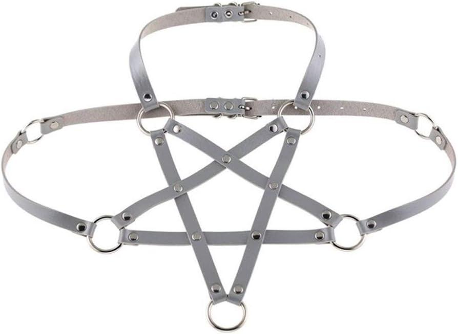 AdorabFruit Présent Pendentif Collar del arnés de Cuerpo for harajaku Hombres Mujeres gótica Cuerpo Sujetador Regalo del Partido del Verano (Metal Color : 1)
