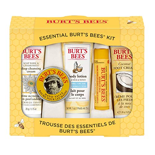 Burt's Bees Essential Everyday Beauty Gift Set,  5 Travel Size Products - Deep Cleansing Cream, Hand Salve, Body Lotion, Foot Cream and Lip Balm