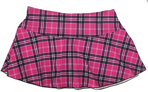 (Delicate Illusions Plus Size School Girl Plaid Mini Skirt 1X (14-16) Hot Pink Plaid)