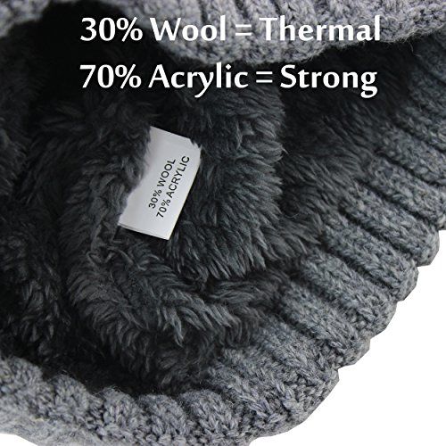 CAMOLAND Men s Fleece Wool Cable Knit Winter Beanie Hat  8cfe2ba5b32c