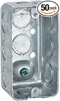 Pack of 50 2-1//8 Deep Drawn 1//2 Knockout Hubbell-Raco 611 Handy Box with Ground