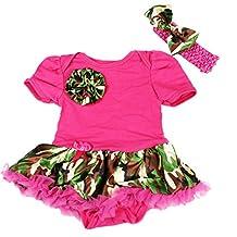 Camouflage Rose Hot Pink Bodysuit Jumpsuit Romper Girl Cloth Baby Dress Nb-18m