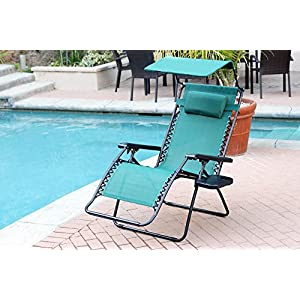 Jeco Set of 2 Oversized Zero Gravity Chairs with Sunshade - Green