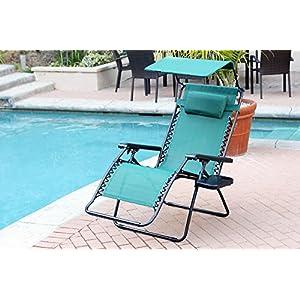 Jeco Set of 2 Oversized Zero Gravity Chairs with Sunshade - Green