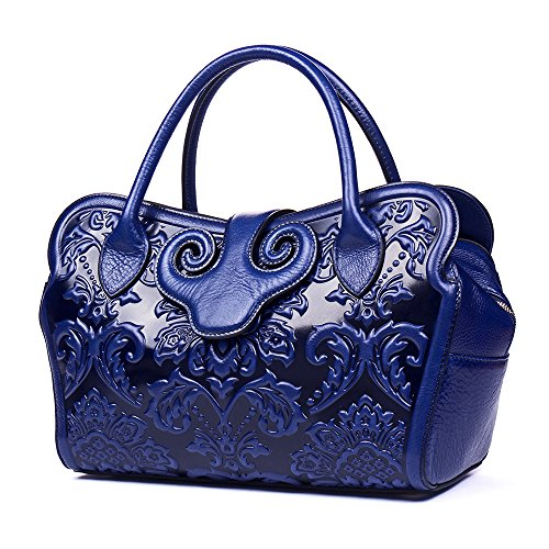 Malirona Women's Tote Handbag Genuine Leather Embossed Floral Shoulder Bags (Blue) by Malirona