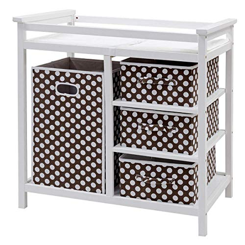 Costzon Baby Changing Table, Diaper Storage Nursery Station with Hamper and 3 Baskets (White+Brown) by Costzon (Image #6)
