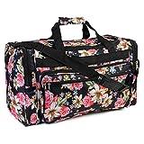 Riah Fashion Women's Cute Print Duffel Bag (Black Floral)