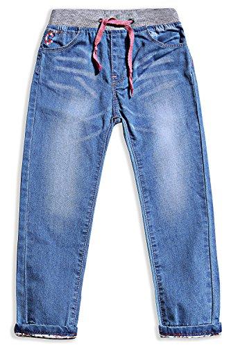LITTLE-GUEST Little Girls' Jeans Kids Clothes Drawstring Waistband Denim Pants G119 (4 Years, Light Blue)