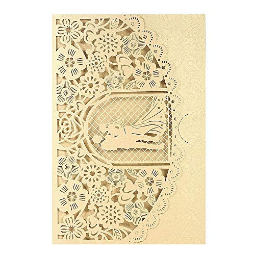 ZHX Wedding Invitation Card Cover Pearl Paper Laser Cut Bridal Bridegroom Pattern Invitation Cards Wedding Anniversary Supplies-Gold Gold One Size from ZHX