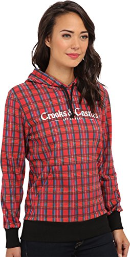 Crooks & Castles Women's Knit Hooded Pullover - Bird Trap Tartan Plaid Sweatshirt SM