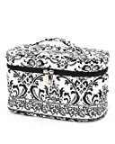 Belvah Quilted Damask Cosmetic Case with Jewelry Purse (Black), Bags Central