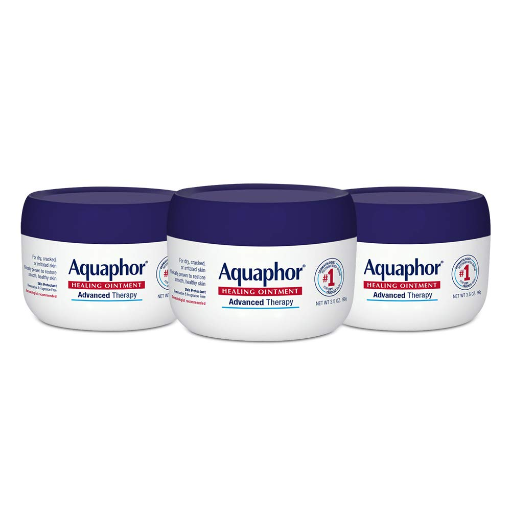 Aquaphor Healing Ointment - Skin Protectant for Dry Cracked Skin - Hands, Heels, Elbows - 3.5 oz Jar (Pack of 3)