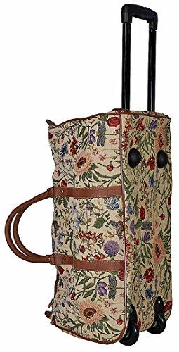 Trolley Blume hell mit ausziehbarem Griff Reisetasche Rollen Henkel Tapisserie Gobelin Royaltex Signare Reise Tasche Gepäck Fa. Bowatex