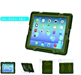 iPad Case,iPad 2 Case,iPad 3 Case,iPad 4 case,Gogoing Hot Newest Non Toxic 3D Protect Military-duty Case with Stand for iPad 4 & 3 & 2 - Rainproof Sandproof Dust-proof Shockproof (Olives/Green)