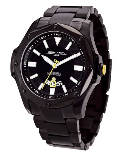 Jorg Gray 9100 Series Mens Sport Watch - Black Steel - Yellow Accents - Date