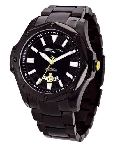 Jorg Gray 9100 Series Mens Sport Watch - Black Steel - Yellow Accents - Date