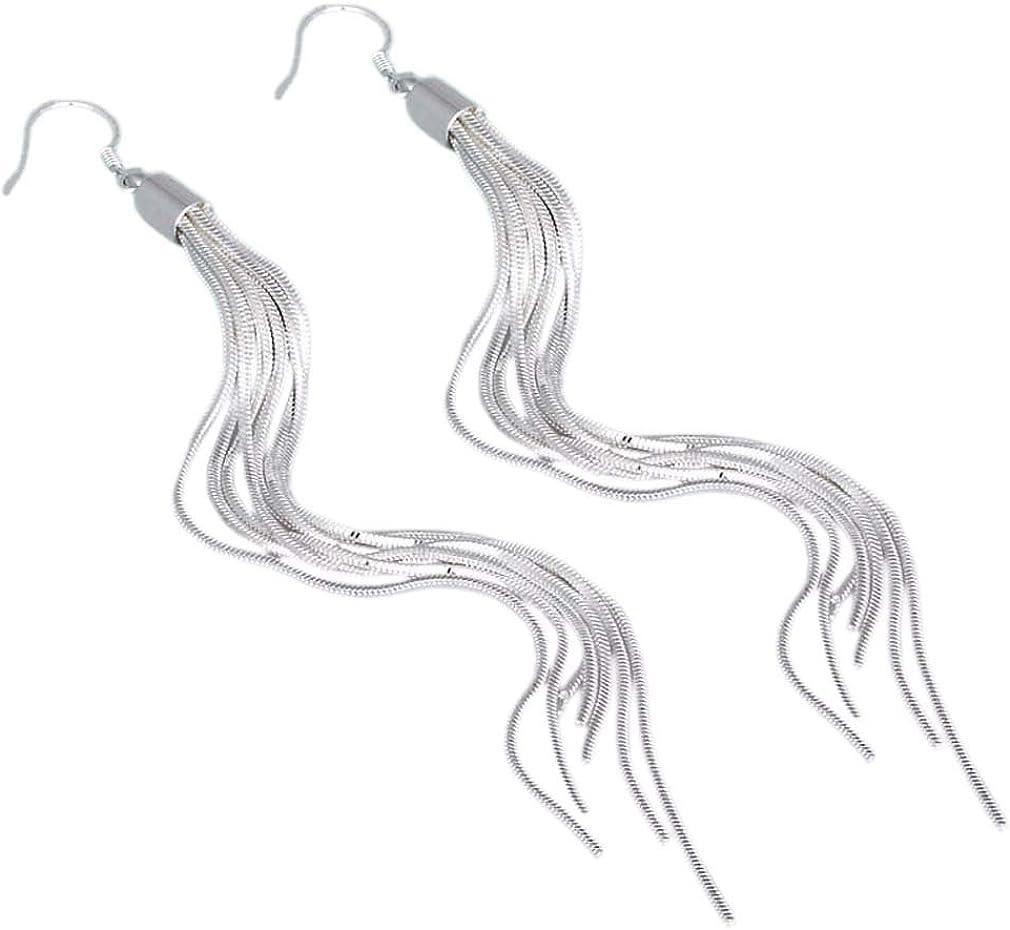 Yazilind Joyería Noble Tassels plateado largo gancho pendientes de gota del cuelgan Diseño Todo-Fósforo para las mujeres