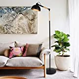 Wood Floor Lamp - Adjustable Floor Lamp, Modern Tall Standing Lamp with E26 Screw Base(LED Bulb not Included), Metal+Wood Reading Lamp with Heavy Base for Living Room/Bedroom/Study/Office