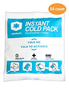 """Instant Cold Breakable Ice Packs Size 5"""" x 6"""" For Injuries and First Aid - Bulk Case of 50"""