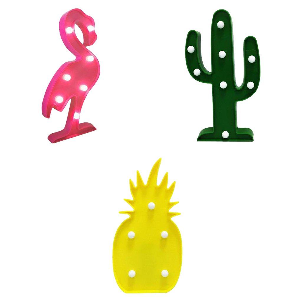 Gazechimp L/ámpara de Noche Dise/ño de Flamenco Tropical Cactus Pi/ña Luces LED Ideal para Hogar Viaje