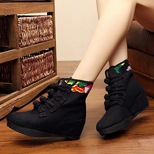 Hembra Boots KHSKX Pure Botas National Treinta Cuatro Alta Y Black Bordado Wind De Thirty Chino Talon five Botas Nuevas En De Botas Short TwwqSAX