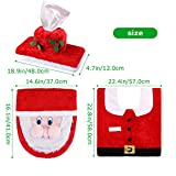 Christmas Toilet Seat Cover, Iyoyo 3 Pieces Snowman Santa Toilet Cover and Rug, Tank & Toilet Paper Box Cover Christmas Decorations for Bathroom Red