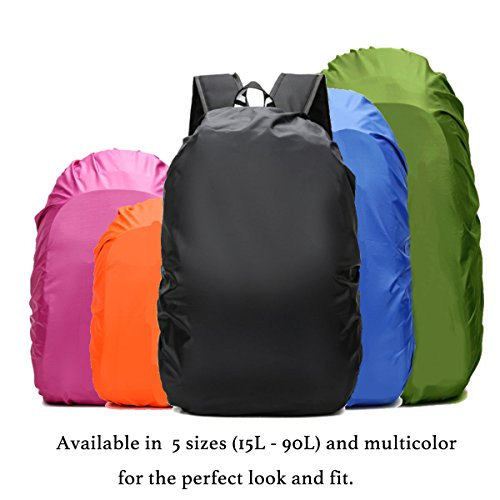 Frelaxy Backpack Rain Cover 100% Waterproof Backpack Cover, Upgraded Anti-Slip Cross Buckle Strap & Rainproof Storage Pouch & Silver Coated, for Hiking, Camping (Black, XXL (for 65L-90L Backpack)) by Frelaxy (Image #8)